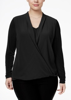 Alfani Plus Size Chiffon-Overlay Surplice Blouse, Only at Macy's