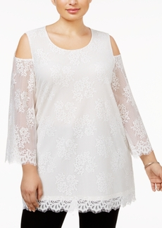 Alfani Plus Size Lace Cold-Shoulder Top, Only at Macy's