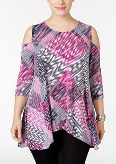 Alfani Plus Size Cold-Shoulder Printed Swing Top, Only at Macy's