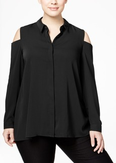 Alfani Plus Size Cold-Shoulder Shirt, Only at Macy's
