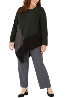 Alfani Plus Size Colorblocked Asymmetrical Top, Created For Macy's