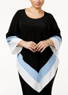 Alfani Plus Size Colorblocked Handkerchief-Hem Top, Only at Macy's