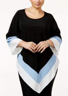 Alfani Plus Size Colorblocked Handkerchief-Hem Top, Only at Macy's