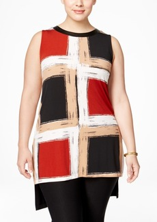 Alfani Plus Size Colorblocked High-Low Tunic, Only at Macy's