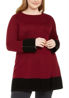 Alfani Plus Size Colorblocked Ottoman Tunic Sweater, Created For Macy's