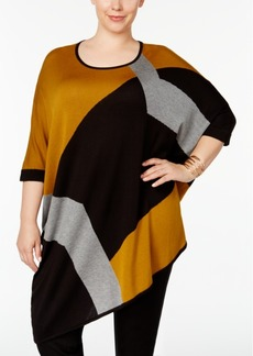 Alfani Plus Size Colorblocked Poncho Sweater, Created for Macy's