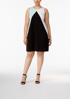 Alfani Plus Size Colorblocked Scuba Dress, Only at Macy's