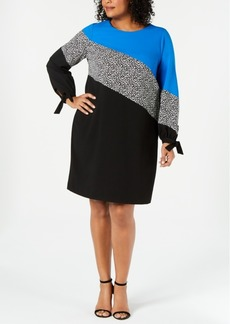 Alfani Plus Size Colorblocked Shift Dress, Created for Macy's