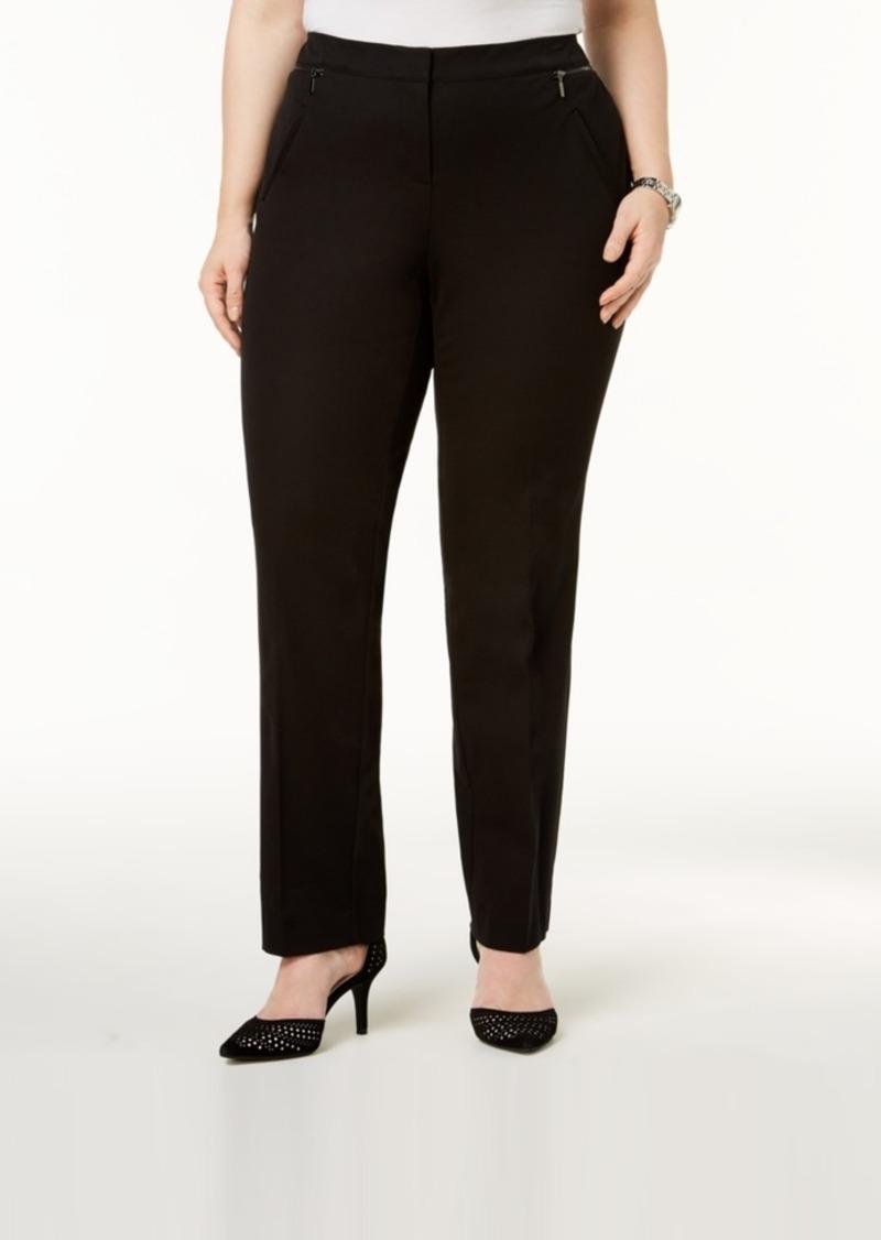 Alfani Plus Size Comfort-Waist Slim-Leg Pants, Created for Macy's