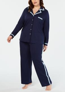 Alfani Pima Cotton Plus Size Long Sleeve Top & Pajama Pants Set, Created for Macy's