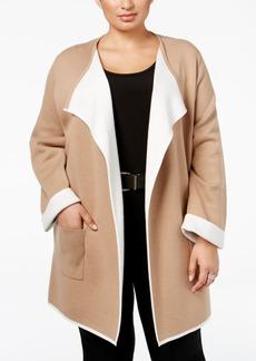 Alfani Plus Size Contrast-Trim Sweater Coat, Only at Macy's