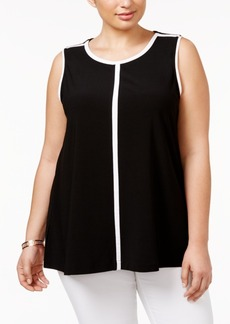 Alfani Plus Size Contrast-Trim Top, Only at Macy's