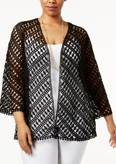 Alfani Plus Size Cotton Crochet Cardigan, Only at Macy's