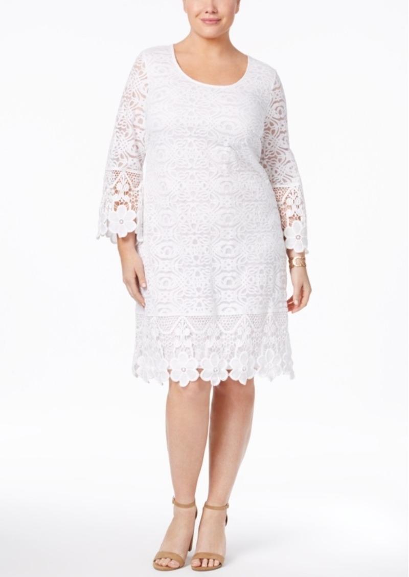 Alfani Plus Size Crochet Shift Dress, Only at Macy's