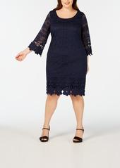 Alfani Plus Size Crochet-Trim Illusion Dress, Created for Macy's