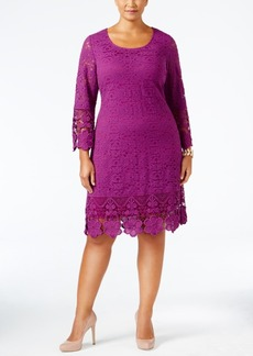 Alfani Plus Size Crochet-Trim Lace Shift Dress, Only at Macy's