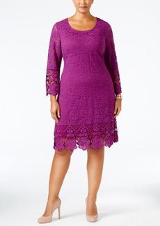 Alfani Plus Size Crochet-Trim Lace Shift Dress, Only at Macy's