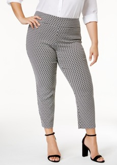 Alfani Plus Size Cropped Jacquard Pants, Only at Macy's