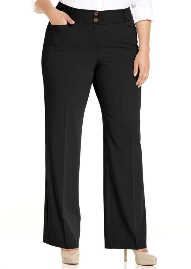 Alfani Plus & Petite Plus Size Curvy-Fit Tummy Control Slimming Bootcut Pants, Created for Macy's