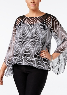 Alfani Plus Size Deco-Print Angel-Sleeve Blouse, Only at Macy's