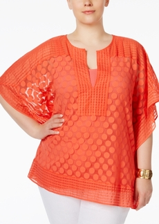 Alfani Plus Size Dotted-Lace Overlay Top, Only at Macy's