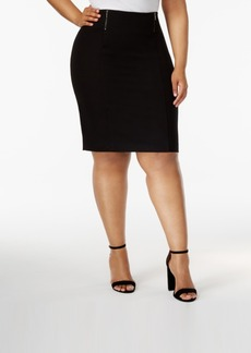 Alfani Plus Size Double-Zipper Pencil Skirt, Created for Macy's