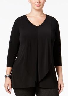 Alfani Plus Size Drape-Front Top, Only at Macy's