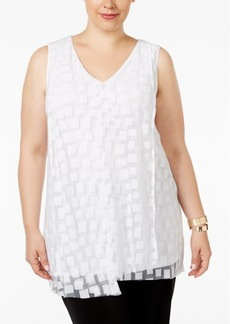 Alfani Plus Size Draped Burnout Blouse, Only at Macy's