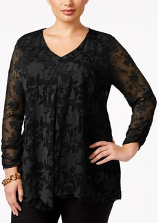 Alfani Plus Size Draped Burnout Top, Only at Macy's