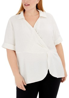 Alfani Plus Size Draped Point-Collar Top, Created for Macy's