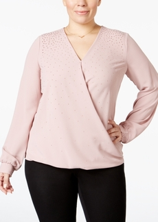 Alfani Plus Size Embellished Faux-Wrap Top, Only at Macy's