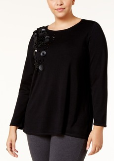Alfani Plus Size Embellished Swing Sweater, Created for Macy's
