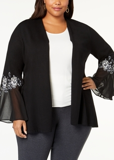 Alfani Plus Size Embroidered Chiffon-Sleeve Cardigan, Created for Macy's