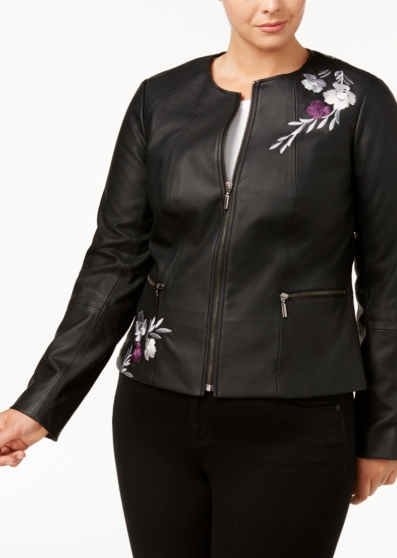 79cee7f62 Plus Size Embroidered Faux-Leather Moto Jacket, Created for Macy's