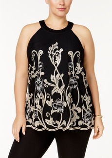 Alfani Plus Size Embroidered Halter Top, Created for Macy's