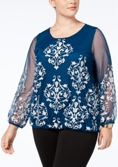 Alfani Plus Size Embroidered Mesh-Sleeve Blouse, Created for Macy's