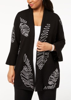 Alfani Plus Size Embroidered Open-Front Cardigan, Created for Macy's