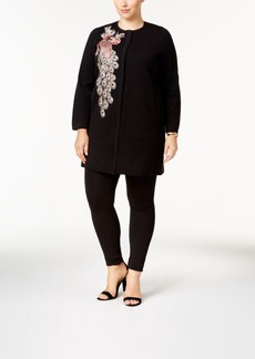 Alfani Plus Size Embroidered Peacock Cardigan, Created for Macy's