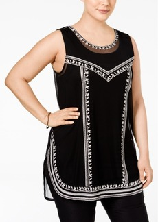 Alfani Plus Size Embroidered Tank Top, Only at Macy's