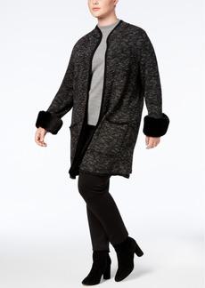 Alfani Plus Size Faux-Fur-Cuff Cardigan, Created for Macy's