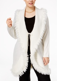 Alfani Plus Size Faux-Fur-Trim Cardigan, Only at Macy's
