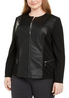 Alfani Plus Size Faux Leather & Ponte-Knit Moto Jacket, Created For Macy's