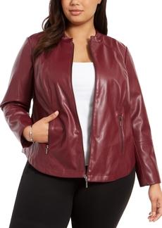 Alfani Plus Size Faux-Leather Jacket, Created For Macy's