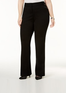 Alfani Plus Size Faux-Leather-Trim Bootcut Pants, Created for Macy's