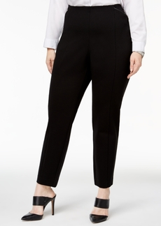 Alfani Plus Size Faux-Leather-Trim Skinny Knit Pants, Created for Macy's
