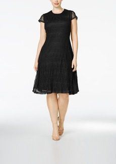 Alfani Plus Size Fit & Flare Lace Dress, Only at Macy's