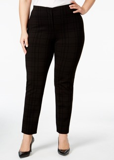 Alfani Plus Size Flocked Hollywood Skinny Pants, Only at Macy's