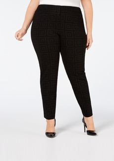 Alfani Plus Size Flocked Ponte-Knit Pants, Created for Macy's