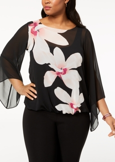 Alfani Plus Size Floral Angel-Sleeve Blouse, Created for Macy's