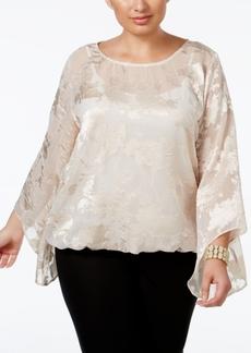 Alfani Plus Size Floral Jacquard Blouson Top, Only at Macy's